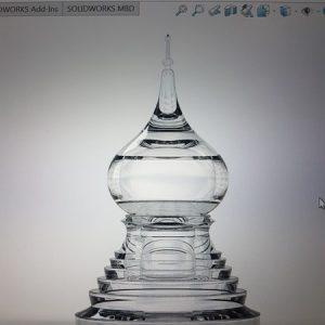 ออกแบบ-ผลิต เจดีย์แก้ว ผอบแก้ว